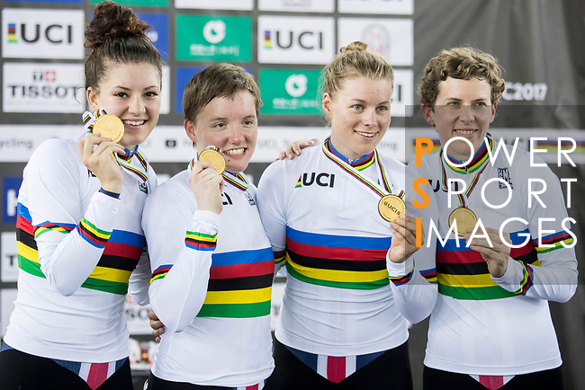 The team of USA with Kelly Catlin, Chloe Dygert, Kimberly Geist and Jennifer Valente celebrates winning the Women's Team Pursuit Finals as part of the 2017 UCI Track Cycling World Championships on 13 April 2017, in Hong Kong Velodrome, Hong Kong, China. Photo by Chris Wong / Power Sport Images