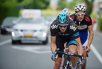 Mathew Hayman (AUS) leading the daylong breakaway<br /> <br /> Eneco Tour 2013<br /> stage 2: Ardooie - Vorst (Brussel)<br /> 177km