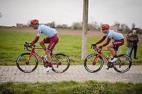 Marcel Kittel (DEU/Katusha - Alpecin) escorted over the cobbles by teammate Reto Hollenstein (DEU/Katusha-Alpecin)<br /> <br /> 43rd Driedaagse Brugge-De Panne 2019 <br /> One day race (1.UWT) from Brugge to De Panne BEL (200km)<br /> <br /> ©kramon