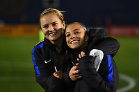 San Diego, CA - Sunday January 21, 2018: Emily Sonnett, Mallory Pugh during an international friendly between the women's national teams of the United States (USA) and Denmark (DEN) at SDCCU Stadium.