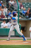 Buffalo Bisons Anthony Alford (26) at bat during an International League game against the Rochester Red Wings on May 31, 2019 at Frontier Field in Rochester, New York.  Rochester defeated Buffalo 5-4 in ten innings.  (Mike Janes/Four Seam Images)