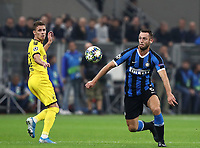 Football Soccer: UEFA Champions League -Group Stage- Group F Internazionale Milano vs Borussia Dortmund, Giuseppe Meazza stadium, October 23, 2019.<br /> Inter's Stefan de Vrij (r) in action with Borussia Dortmund's Thorgan Hazard (l)  during the Uefa Champions League football match between Internazionale Milano and Borussia Dortmund at Giuseppe Meazza (San Siro) stadium, on October 23, 2019.<br /> UPDATE IMAGES PRESS/Isabella Bonotto