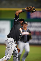 Jupiter Hammerheads first baseman Felix Munoz (24) catches a popup during the first game of a doubleheader against the Clearwater Threshers on July 25, 2015 at Bright House Field in Clearwater, Florida.  Jupiter defeated Clearwater 8-5.  (Mike Janes/Four Seam Images)