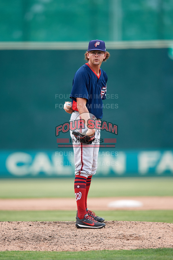 Potomac Nationals relief pitcher Taylor Guilbeau (21) looks in for the sign during the first game of a doubleheader against the Lynchburg Hillcats on June 9, 2018 at Calvin Falwell Field in Lynchburg, Virginia.  Lynchburg defeated Potomac 5-3.  (Mike Janes/Four Seam Images)