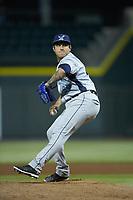 Wilmington Blue Rocks relief pitcher Daniel Duarte (39) in action against the Winston-Salem Dash at BB&T Ballpark on April 16, 2019 in Winston-Salem, North Carolina. The Blue Rocks defeated the Dash 4-3. (Brian Westerholt/Four Seam Images)