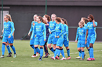 Union's team pictured entering the pitch during a female soccer game between the women teams of Club Brugge YLA Dames and Union Saint-Ghislain Tertre-Hautrage Ladies on the 1/16 th qualifying round for the Belgian Womens Cup 2020  2021 , on saturday 26 th of September 2020  in Brugge , Belgium . PHOTO SPORTPIX.BE | SPP | DAVID CATRY