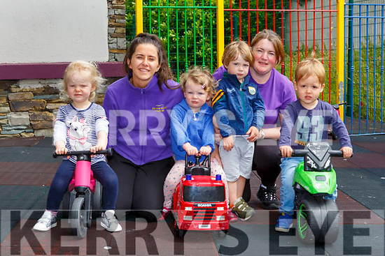 Rachel Malone, Scarlett Brennan, Mark Falvey and Jonah Healy with Megan O'Connor left and Margaret Scanlon back playing in Bellview West Childcare Killarney on Monday