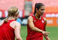 WASHINGTON D.C. - September 02, 2013:<br /> Yael Averbuch  points out something to Becky Sauerbrunn During a USA WNT open practice at RFK Stadium, in Washington D.C. the day before the USA v Mexico international friendly match.