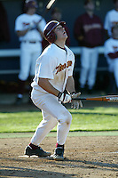 Jeff Clement of the Southern California Trojans bats during a 2004 season game at Dedeaux Field in Los Angeles, California. (Larry Goren/Four Seam Images)