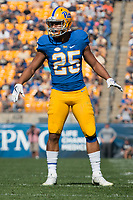 Pitt linebacker Elijah Zeise. The North Carolina Wolfpack defeated the Pitt Panthers 35-17 at Heinz Field, Pittsburgh, PA on October 14, 2017.