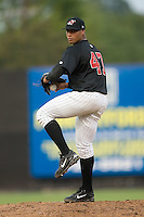 Winston-Salem starting pitcher Fautino De Los Santos (47) in action versus Frederick at Ernie Shore Field in Winston-Salem, NC, Wednesday, August 15, 2007.