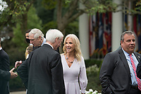Kellyanne Conway, right, talks with other guests following President Donald Trump's announcement of Amy Coney Barrett, 48, as his nominee for Associate Justice of the Supreme Court of the United States during a ceremony in the Rose Garden at The White House in Washington, DC., Saturday, September 26, 2020.<br /> CAP/MPI/RS<br /> ©RS/MPI/Capital Pictures