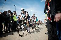 2014 winner Niki Terpstra (NLD/Etixx-QuickStep), with John Degenkolb (DEU/Giant-Alpecin) at the end of sector 4: Carrefour de l'Arbre (2.1km)<br /> <br /> 113th Paris-Roubaix 2015