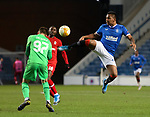 25.02.2021 Rangers v Royal Antwerp: Ortwin De Wolf charges out of his box and heads clear from Alfredo Morelos