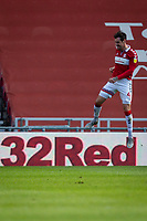 13th March 2021; Riverside Stadium, Middlesbrough, Cleveland, England; English Football League Championship Football, Middlesbrough versus Stoke City; Grant Hall of Middlesbrough Celebrates scoring Middlesbroughs 1st goal in the 20th minute