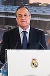 Real Madrid's president Florentino Perez during the presentation of Alvaro Morata at the Santiago Bernabeu Stadium. August 15, 2016. (ALTERPHOTOS/Rodrigo Jimenez)