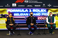 27th August 2021; Spa Francorchamps, Stavelot, Belgium: FIA F1 Grand Prix of Belgium, free practise:  F1 Grand Prix of Belgium Andreas Seidl GER, McLaren F1 Team, Laurent Rossi FRA, CEO of Alpine, Otmar Szafnauer ROU, Aston Martin Cognizant F1 Team at press conference