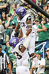 TCU Horned Frogs running back B.J. Catalon (23) and TCU Horned Frogs tight end Cliff Murphy (43) in action during the game between the TCU Horned Frogs and the Baylor Bears at the McLane Stadium in Waco, Texas. TCU leads Baylor 31 to 27 at halftime.