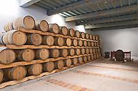 Oak barrel aging and fermentation cellar. Chateau les Pins, Baixas, Roussillon, France