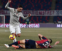 Mattia De Sciglio of Juventus and Mitchell Dijks of Bologna compete for the ball during the Italy Cup 2018/2019 football match between Bologna and Juventus at stadio Renato Dall'Ara, Bologna, January 12, 2019 <br />  Foto Andrea Staccioli / Insidefoto