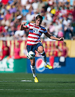Abby Wambach (14) of the USWNT takes a touch on the ball during a friendly match at Sahlen's Stadium in Rochester, NY.  The USWNT defeated Costa Rica, 8-0.