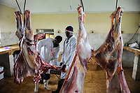 KENYA Limuru, Tigoni, butcher at work, beef parts  / KENIA, Fleischerei, Rindfleisch