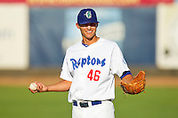 Corey Seager (46) of the Ogden Raptors warms up in the outfield prior to the game against the Orem Owlz at Lindquist Field on July 27, 2012 in Ogden, Utah.  The Raptors defeated the Owlz 6-3.   (Brian Westerholt/Four Seam Images)