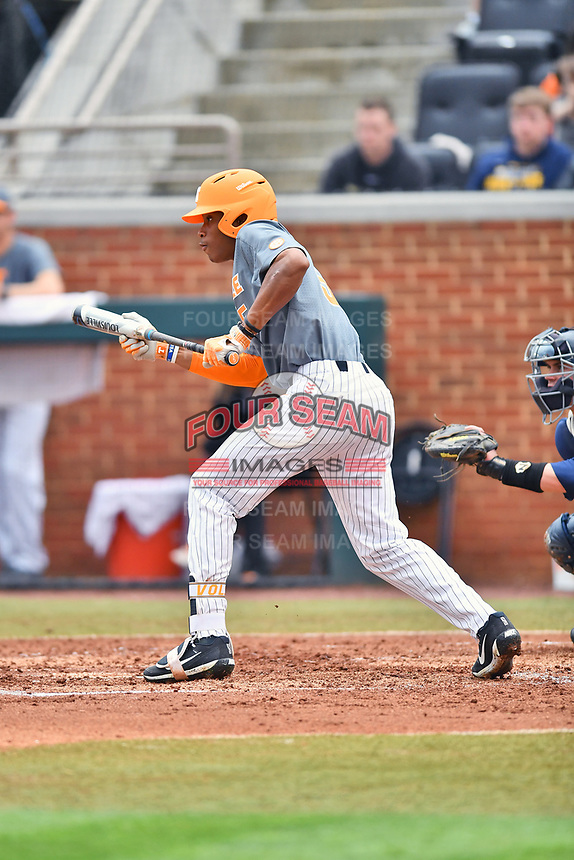 Tennessee Volunteers left fielder Zach Daniels (5) squares to bunt during a game against the University of North Carolina Greensboro (UNCG) Spartans at Lindsey Nelson Stadium on February 24, 2018 in Knoxville, Tennessee. The Volunteers defeated Spartans 11-4. (Tony Farlow/Four Seam Images)