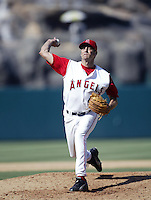 Al Levine of the Los Angeles Angels pitches during a 2002 MLB season game at Angel Stadium, in Anaheim, California. (Larry Goren/Four Seam Images)