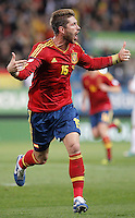 Spain's national team Sergio Ramos celebrates during match. October 16, 2012. (ALTERPHOTOS/Alvaro Hernandez) /NORTEPhoto