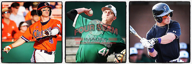 Second baseman Will Muzika hits for the Furman Paladins. (Tom Priddy/Four Seam Images)