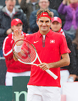 14-09-12, Netherlands, Amsterdam, Tennis, Daviscup Netherlands-Swiss,   Roger Federer thanking the crowd