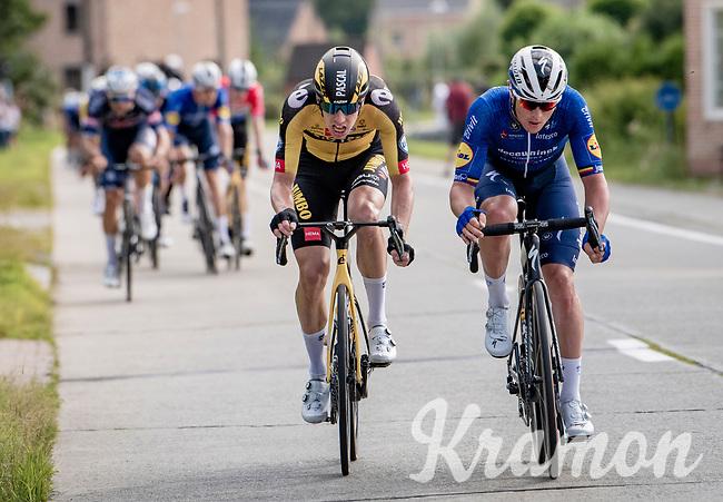 Yves Lampaert (BEL/Deceuninck - QuickStep) setting up the decisive move, getting (eventual race winner) Pascal Eenkhoorn (NED/Jumbo-Visma) to move ahead with him<br /> <br /> Heylen Vastgoed Heistse Pijl 2021 (BEL)<br /> One day race from Vosselaar to Heist-op-den-Berg (BEL/193km)<br /> <br /> ©kramon