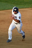 Tri-City ValleyCats third baseman Nick Tanielu (30) running the bases during a game against the Batavia Muckdogs on August 2, 2014 at Joseph L. Bruno Stadium in Troy, New  York.  Tri-City defeated Batavia 8-4.  (Mike Janes/Four Seam Images)