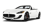Stock pictures of low aggressive front three quarter view of a 2017 Maserati GranTurismo Convertible Sport Door convertible Low Aggressive
