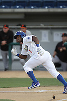 Yasiel Puig #8 of the Rancho Cucamonga Quakes bats against the San Jose Giants at The Epicenter on August 27, 2012 in Rancho Cucamonga, California. Rancho Cucamonga defeated San Jose 4-3. (Larry Goren/Four Seam Images)