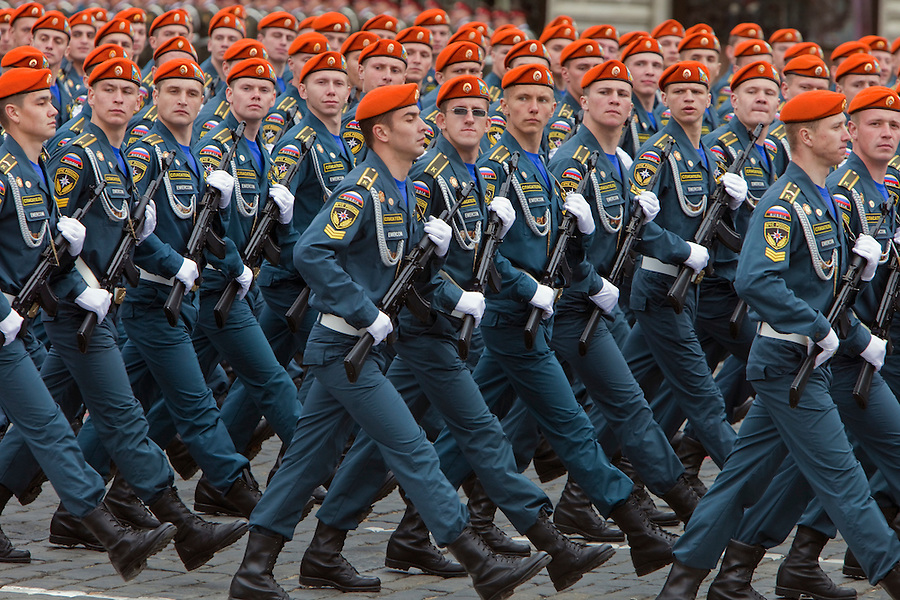 Moscow, Russia, 06/05/2010..Russian soldiers march through Red Square during a rehearsal for the forthcoming May 9 Victory Day parade, scheduled to be the largest for many years.