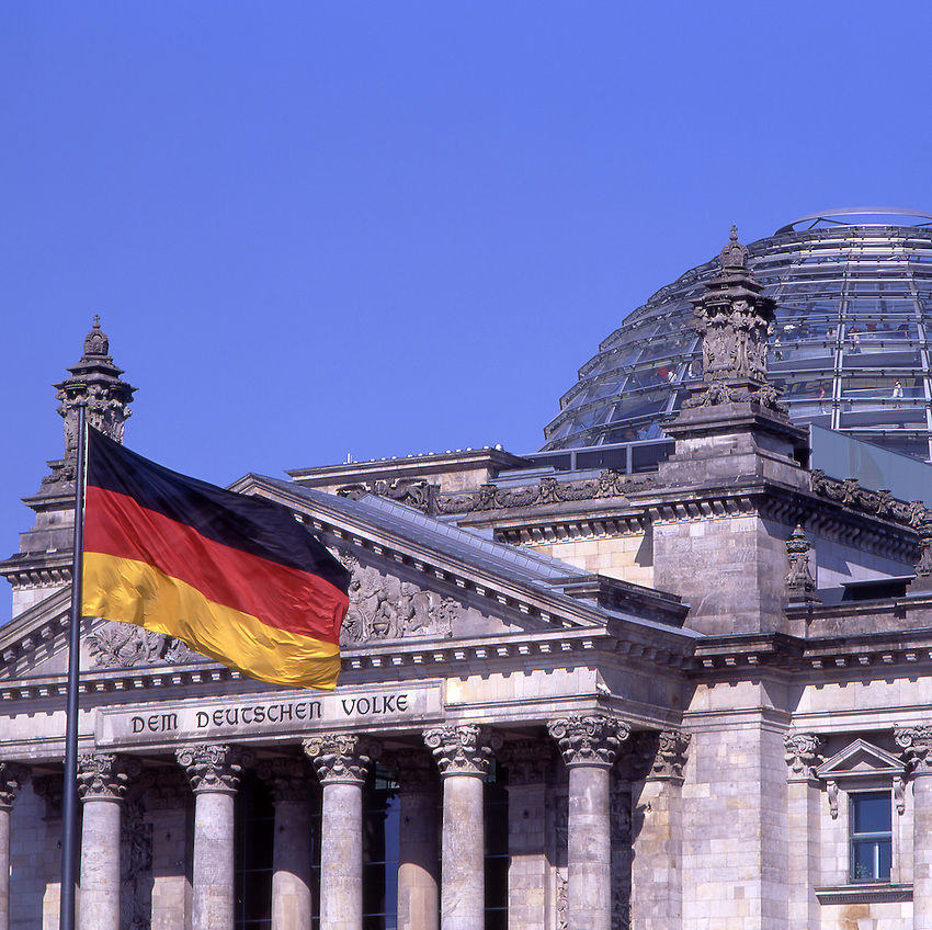 Europe, DEU, Germany, Berlin, Government, Reichstag with german national flag.....[ For each utilisation of my images my General Terms and Conditions are mandatory. Usage only against use message and proof. Download of my General Terms and Conditions under http://www.image-box.com or ask for sending. A clearance before usage is necessary...Material is subject to royalties. Each utilisation of my images is subject to a fee in accordance to the present valid MFM-List...Contact | archive@image-box.com | www.image-box.com ]