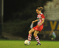 20130913 - ANTWERPEN , BELGIUM : Antwerp Lisa Korevaar pictured during the female soccer match between Royal Antwerp FC Vrouwen / Ladies and K AA Gent Ladies at the BOSUIL STADIUM , of the fourth matchday in the BENELEAGUE competition. Friday 13 September 2013. PHOTO DAVID CATRY