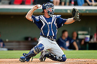 Toledo Mud Hens catcher Bryan Holaday #2 throws the ball back to his pitcher during the game against the Charlotte Knights at Knights Stadium on May 7, 2012 in Fort Mill, South Carolina.  (Brian Westerholt/Four Seam Images)