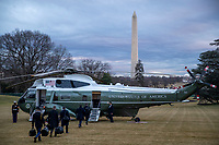 Marine One, with US President Joe Biden aboard, prepares to lift off the South Lawn of the White House in Washington, DC, USA, 16 February 2021. This evening President Biden is traveling to Minneapolis to participate in a town hall meeting where he will take questions on the pandemic and the economy. <br /> Credit: Shawn Thew / Pool via CNP /MediaPunch