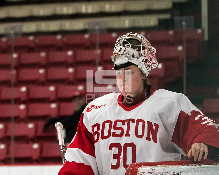 BOSTON, MA - JANUARY 04: Corinne Schroeder #30 of Boston University during a timeout during a game between University of Maine and Boston University at Walter Brown Arena on January 04, 2020 in Boston, Massachusetts.