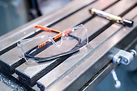 Safety glasses in a Metal work shop