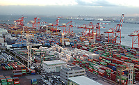 A large container yard and container ship terminal at Tokyo Bay, Tokyo, Japan..11 Jan 2005