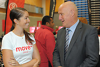 Sarah Walker chats with Mana College principal Mike Webster. Move60 promotion at Te Rauparaha Arena, Porirua, Wellington, New Zealand on Saturday, 5 April 2014. Photo: Dave Lintott / lintottphoto.co.nz