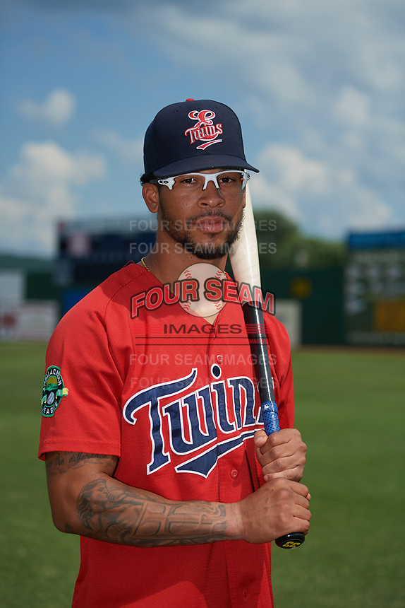 Elizabethton Twins Jared Akins (12) poses for a photo before a game against the Bristol Pirates on July 29, 2018 at Joe O'Brien Field in Elizabethton, Tennessee.  Bristol defeated Elizabethton 7-4.  (Mike Janes/Four Seam Images)
