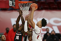 Arkansas forward Jaylin Williams (10) drives the ball for a layup, Saturday, January 9, 2021 during the first half of a basketball game at Bud Walton Arena in Fayetteville. Check out nwaonline.com/210110Daily/ for today's photo gallery. <br /> (NWA Democrat-Gazette/Charlie Kaijo)
