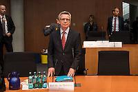 Sitzung des NSA-Untersuchungsausschuss am Donnerstag den 18. Juni 2015.<br /> Im Bild: Bundesinnenminister Dr. Thomas de Maiziere musste als Zeuge vor den Untersuchungsausschuss. Er war von 2005 bis 2009 Chef des Bundeskanzleramtes.<br /> 18.6.2015, Berlin<br /> Copyright: Christian-Ditsch.de<br /> [Inhaltsveraendernde Manipulation des Fotos nur nach ausdruecklicher Genehmigung des Fotografen. Vereinbarungen ueber Abtretung von Persoenlichkeitsrechten/Model Release der abgebildeten Person/Personen liegen nicht vor. NO MODEL RELEASE! Nur fuer Redaktionelle Zwecke. Don't publish without copyright Christian-Ditsch.de, Veroeffentlichung nur mit Fotografennennung, sowie gegen Honorar, MwSt. und Beleg. Konto: I N G - D i B a, IBAN DE58500105175400192269, BIC INGDDEFFXXX, Kontakt: post@christian-ditsch.de<br /> Bei der Bearbeitung der Dateiinformationen darf die Urheberkennzeichnung in den EXIF- und  IPTC-Daten nicht entfernt werden, diese sind in digitalen Medien nach §95c UrhG rechtlich geschuetzt. Der Urhebervermerk wird gemaess §13 UrhG verlangt.]