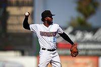 Inland Empire 66ers third baseman Alberto Triunfel (9) during a California League game against the Lancaster JetHawks at San Manuel Stadium on May 20, 2018 in San Bernardino, California. Inland Empire defeated Lancaster 12-2. (Zachary Lucy/Four Seam Images)
