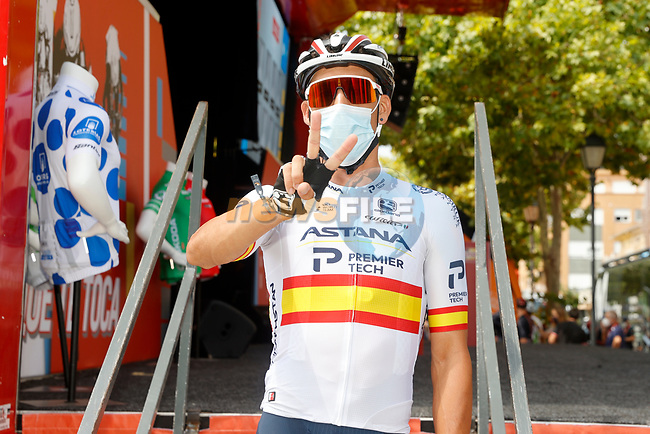 Spanish Champion Omar Fraile (ESP) Astana-Premier Tech at sign on before the start of Stage 6 of La Vuelta d'Espana 2021, running 158.3km from Requena to Alto de la Montaña Cullera, Spain. 19th August 2021.    <br /> Picture: Luis Angel Gomez/Photogomezsport | Cyclefile<br /> <br /> All photos usage must carry mandatory copyright credit (© Cyclefile | Luis Angel Gomez/Photogomezsport)